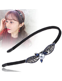 Vintage Black+silver Color Pearl Decorated Leaf Shape Design Hollow Out Hair Hoop