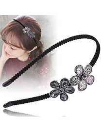 Vintage Silver Color+gray Water Drop Shape Diamond Decorated Flower Shape Design Hair Hoop