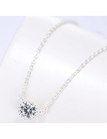 Fashion Silver Color Round Shape Diamond Pendant Decorated Simple Necklace