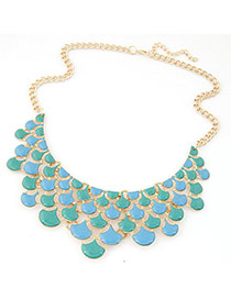 Exquisite Blue+green Geometric Shape Design Hollow Out Short Chain Necklace