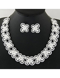 Personality Silver Color Butterfly Shape Decorated Hollow Out Design Jewelry Sets