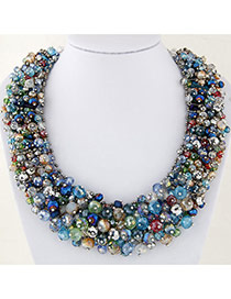 Delicate Multi-color Bead Decorated Hand-woven Simple Design Necklace