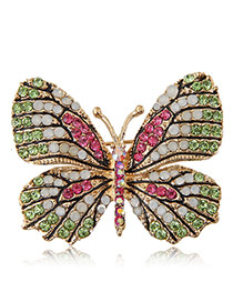Delicate Pink+green Diamond Decorated Butterfly Design Simple Brooch