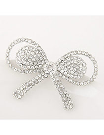 Sweet Silver Color Round Shape Diamond Decorated Bowknot Design Simple Brooch