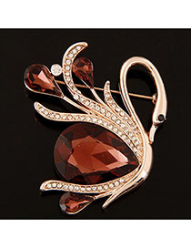 Elegant Coffee Oval Shape Diamond Decorated Swan Design Brooch