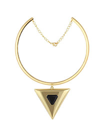 Fashion Gold Color+black Big Triangle Pendant Decorated Simple Choker