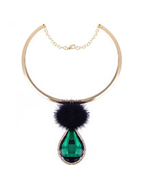 Fashion Black+green Fuzzy Ball&waterdrop Diamond Decorated Simple Necklace