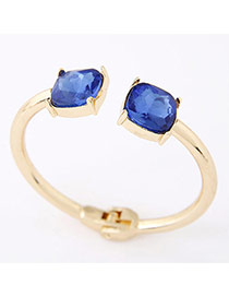 Elegant Gold Color+sapphire Blue Double Square Diamond Decorated Opening Bracelet