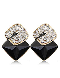 Sweet Black Diamond Decorated Three-dimensional Square Gemstone Earring