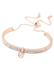 Elegant Gold Color Hollow Out Square Diamond Decorated Simple Bracelet