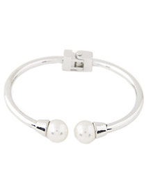 Elegant Silver Color Double Pearls Decorated Opening Simple Bracelet