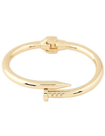 Exaggerated Gold Color Pure Color Decorated Nail Shape Design Bracelet
