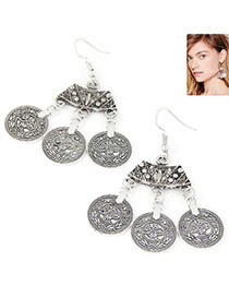 Vintage Anti-silver Color Coin Shape Pendant Decorated Tassel Earring