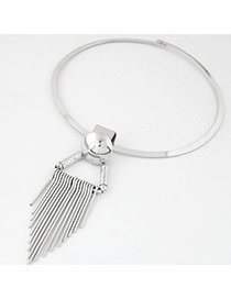 Fashion Silver Color Tassel Pendant Decorated Pure Color Simple Necklace