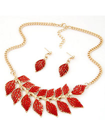 Fashion Red Diamond Decorated Leaf Shape Simple Jewelry Sets