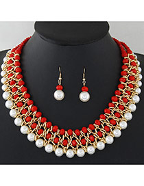 Fashion Red+white Pearls&diamond Decorated Multi-layer Jewelry Sets