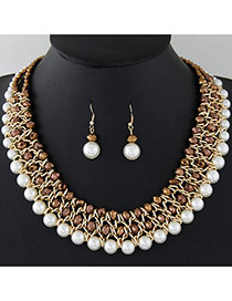 Fashion Coffee+white Pearls&diamond Decorated Multi-layer Jewelry Sets