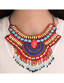 Trendy Multi-color Bead Tassel Pendant Decorated Irregular Shape Collar Necklace