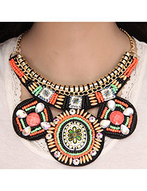 Trendy Multi-color Beads Decorated Round Shape Simple Collar Necklace