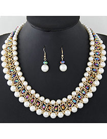Fashion Multi-color Pearls Decorated Multi-layer Hand-woven Jewelry Sets