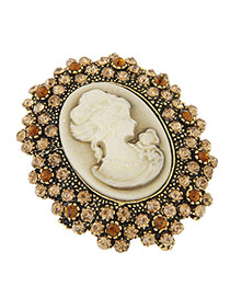 Fashion Gold Color Lady Pattern Decorated Full Diamond Design Simple Brooch