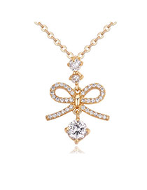 Fashion Gold Color Round Shape Diamond Decorated Bowknot Shape Necklace