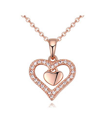 Fashion Rose Gold Hollow Out Heart Shape Pendant Decorated Simple Necklace