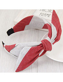 Fashion Red+gray Color Matching Design Bowknot Shape Simple Hair Clasp