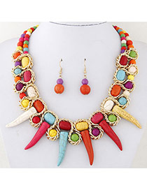 Trendy Multi-color Ox Horn Shape Pendant Decorated Double Layer Simple Jewelry Sets