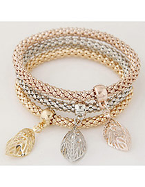 Elegant Muti-color Metal Leaf Decorated Multilayer Simple Bracelet