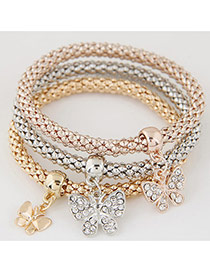 Elegant Muti-color Metal Butterfly Pendant Decorated Multilayer Bracelet