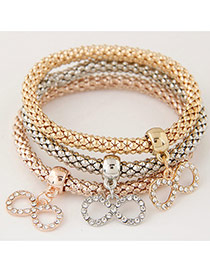 Elegant Muti-color Metal Bowknot Pendant Decorated Mutilayer Bracelet