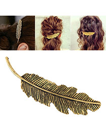 Fashion Brozen Metal Leaf Decorated Pure Color Design Hair Clip