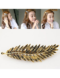 Fashion Gold Color Metal Leaf Decorated Pure Color Design Hair Clip