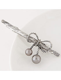 Sweet Silver Color Bowknot Decorated Pure Color Hair Clip