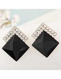 Sweet Black Diamond Decorated Square Shape Earring