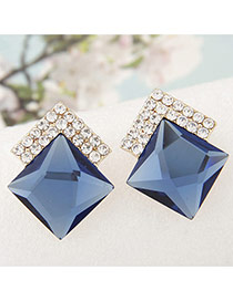 Sweet Blue Diamond Decorated Square Shape Earring