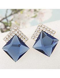 Sweet Blue Diamond Decorated Square Shape Earring