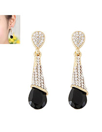 Fashion Black Diamond Decorated Waterdrop Beads Earring