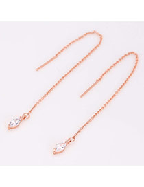Elegant Rose Gold Diamond Pendant Decorated Tassel Earring