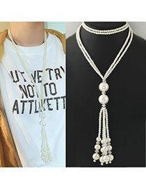 Fashion White Pearl Tassel Pendant Decorated Multilayer Necklace