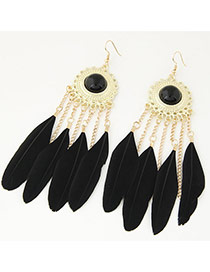 Fashion Black Feather Tassel Pendant Decorated Simple Earring