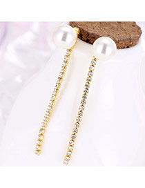 Sweet Gold Color Vertical Bar Tassel Decorated Pearl Ball Earring