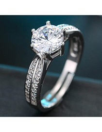 Sweet Silver Color Diamond Decorated Simple Adjustable Ring