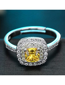 Sweet Yellow Square Diamond Decorated Simple Adjustable Ring