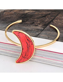 Retro Red Crescent Shape Tophus Decorated Opening Design