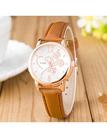 Elegant Coffee Flower Shape Pattern Decorated Pure Color Strap Design Pu Ladies Watches