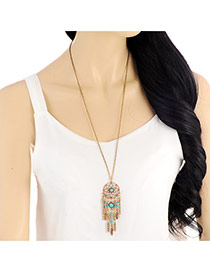 Fashion Gold Color Tassel Pendant Decorated Simple Necklace