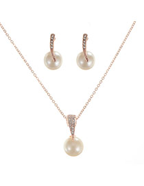 Elegant Gold Color Peral Pendant Decorated Short Chain Jewelry Sets