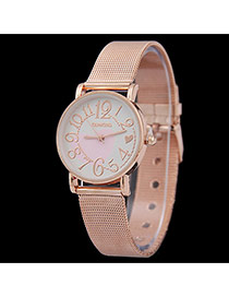 Personality Gold Color Big Digital Pattern Decorated Metal Stap Design Women Watch Alloy Ladies Watches